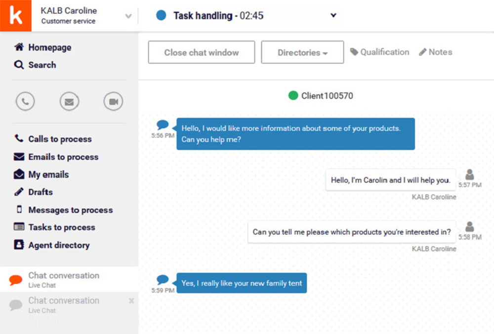 Chat with your visitors via a dedicated interface