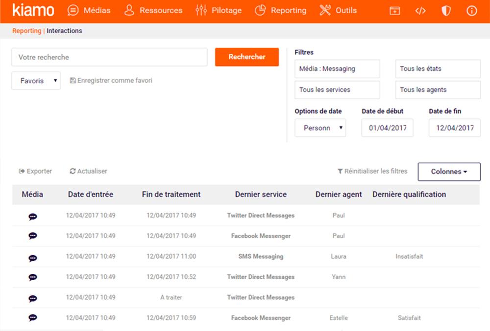 Suivez l'activité messaging de votre service client